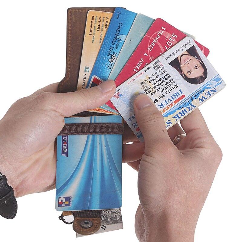 Man Crazy Horse Läder Multi Card Holder Wallet Chain Äkta Läder - Plånböcker - Foto 5