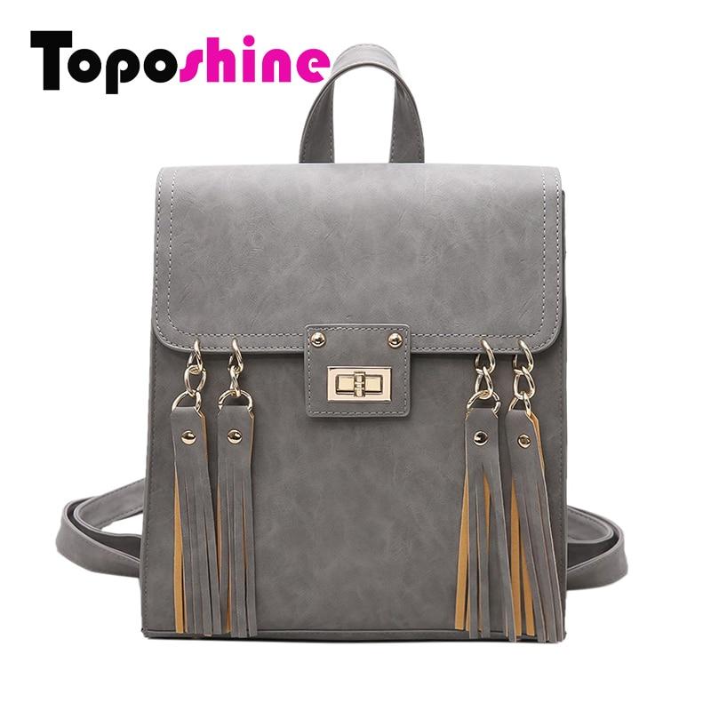 Toposhine 2017 New Tassel Women Backpack Black PU Leather School Backpack Women Backpacks For Teenage Girl