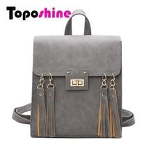 Toposhine 2017 New Tassel Women Backpack Black PU Leather School Backpack Women Backpacks For Teenage Girl School Bags 1650