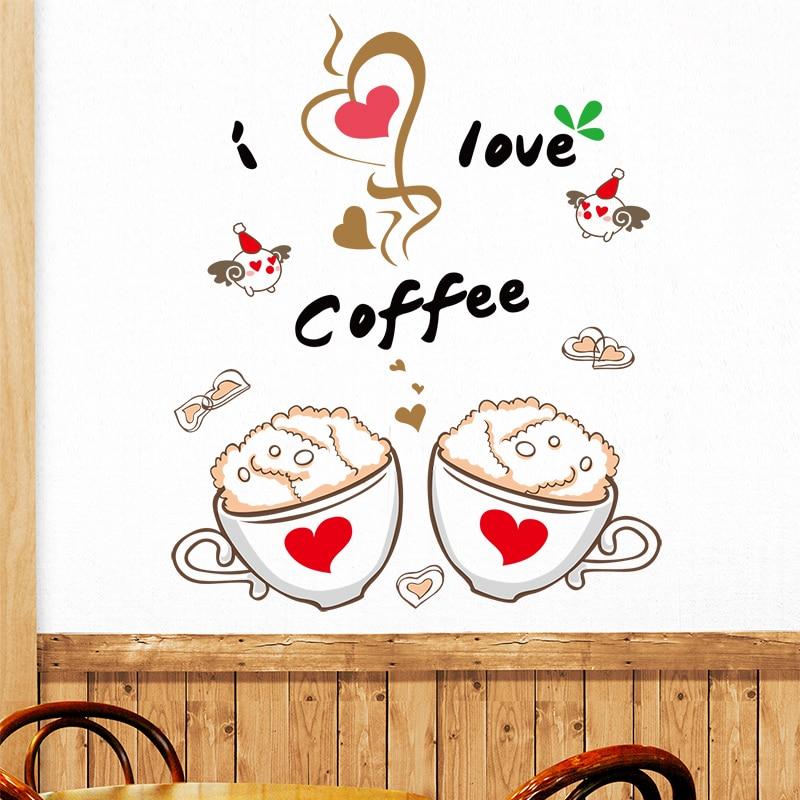 Shijuehezi Coffee Cup Wall Stickers Home Decor Diy Wall Decals
