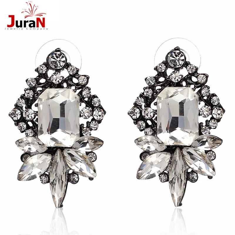 JURAN الأبيض زجاج حجر الراين القرط - مجوهرات الأزياء