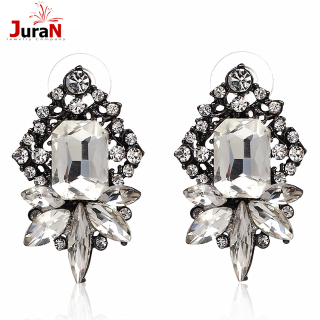 139e195c77 US $2.03 15% OFF|JURAN White Glass Rhinestone Earring Women'S Fashion  Earrings New Arrival Brand Sweet Metal With Gems Stud For Women F1305-in  Stud ...