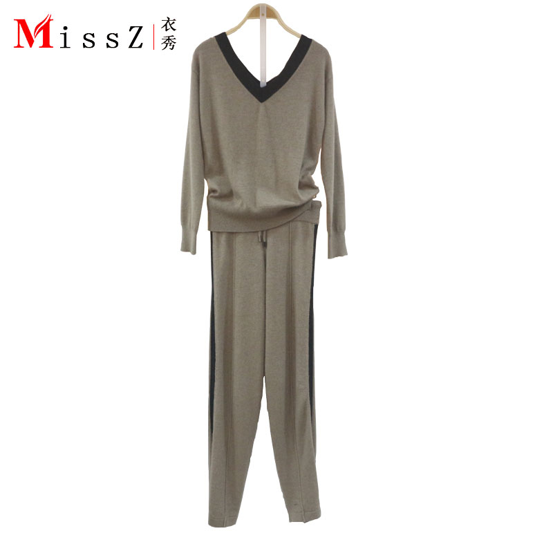 Europe and the United States new fashion word shoulder V-neck pullover women's casual trousers knitted cashmere suit