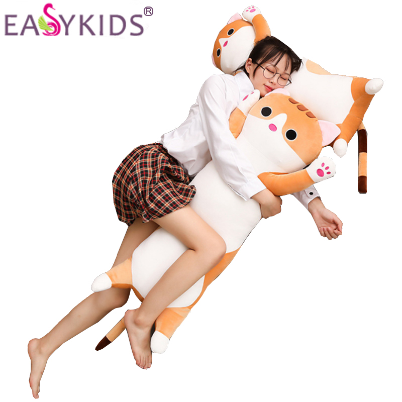 Dolls & Stuffed Toys 1pcs 65/90/110cm Long Cat Pillow Kawaii Plush Toy Soft Cushion Stuffed Animal Doll Juguetes Sleep Sofa Bedroom Decor Gift Kids Structural Disabilities