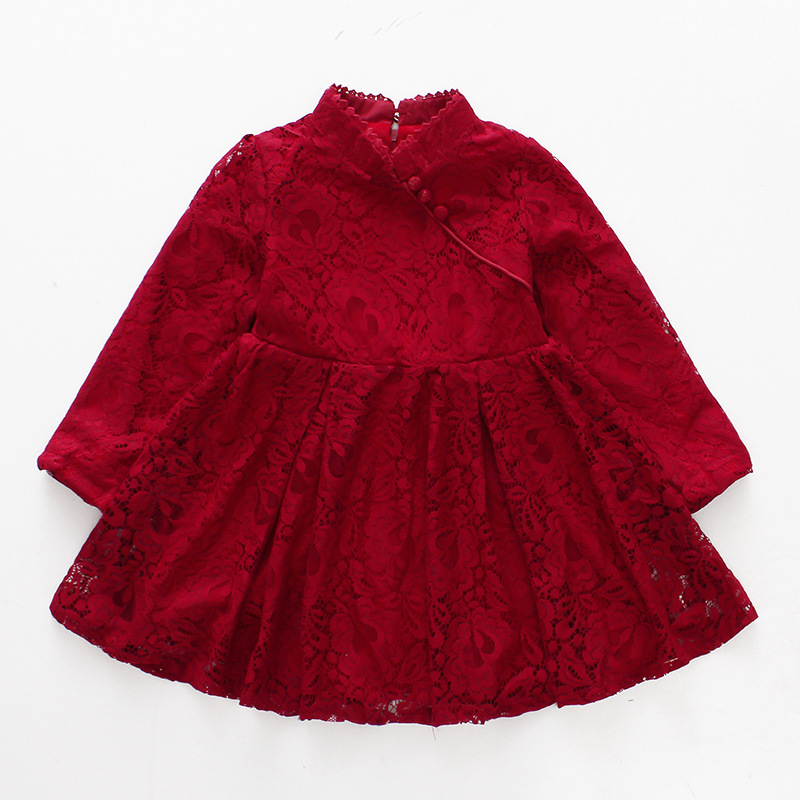 Chinese Style Winter Warm Embroidery Girl Dress Children Girls's Clothing Ball Gown Girls Clothes Party Princess Dress 2-8 yrs chouchouchic winter children clothing girls dress party wear cotton short sleeve chinese style winter qipao red forest