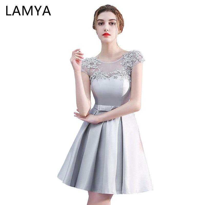LAMYA Short   Bridesmaid     Dresses   2019 Vintage Plus Size Wedding Party   Dress   Princess Robe De Soiree