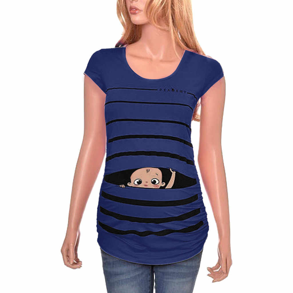 Robe de maternité Premium doux Stretch maternité mignon drôle bébé imprimé rayé à manches courtes T-shirt enceintes hauts MAR11