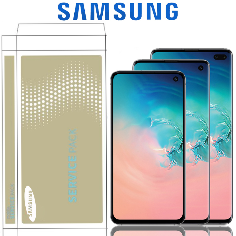 The 1440*3040 LCD For SAMSUNG Galaxy S10E S10 G9730 Display S10+ Plus G9750 Touch Screen Digitizer Assembly With Service Pack