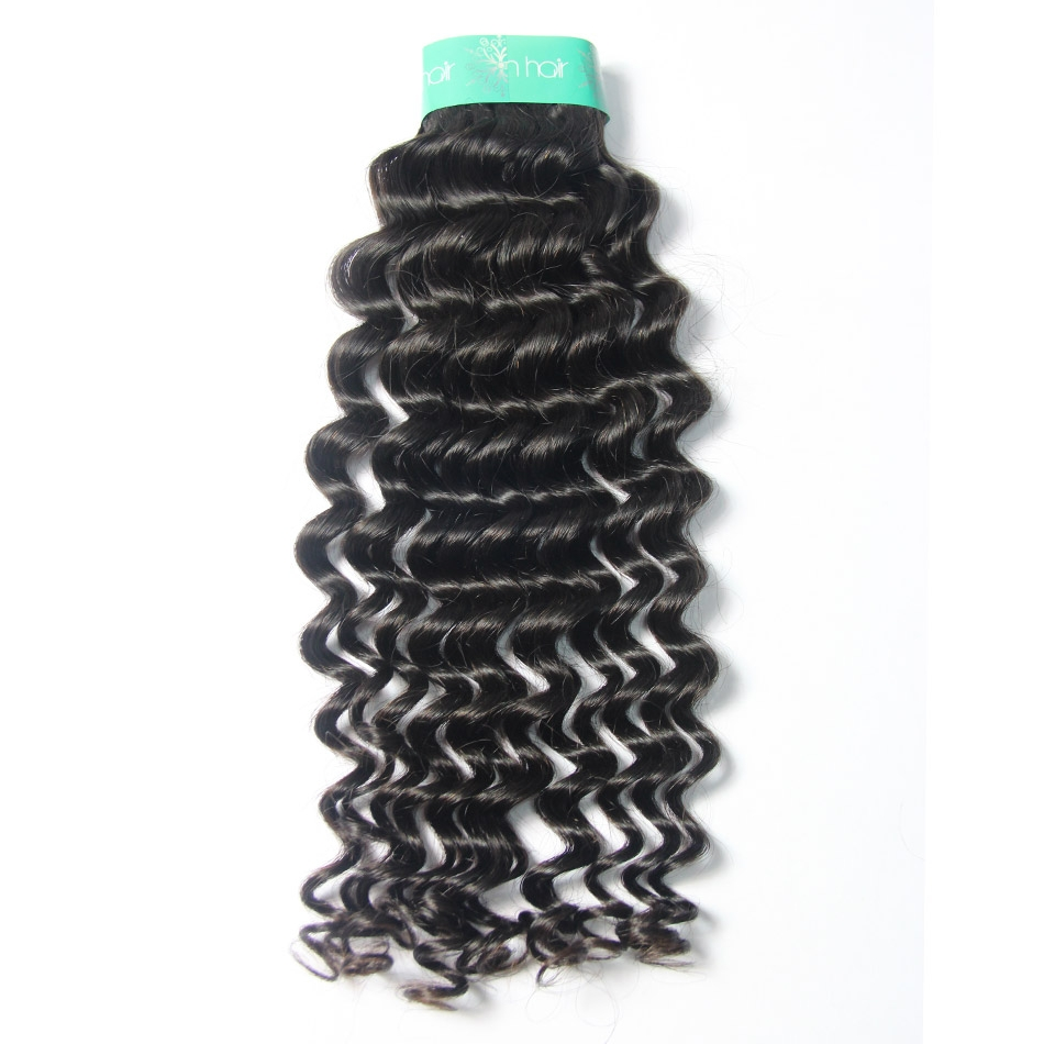 Top Quality Indian Curly Virgin Hair Weave Unprocessed Deep Wave Human Hair Extensions in Color 1b 100g/bundle Curly Weave
