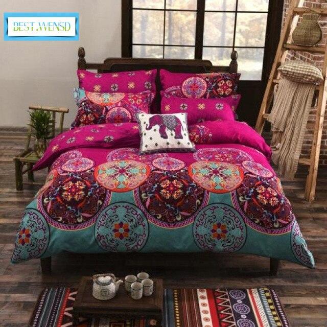 BEST.WENSD bohemia 4pc 3d comforter bedding sets Mandala duvet cover set winter bedsheet queen king size Bedlinen dekbedovertre