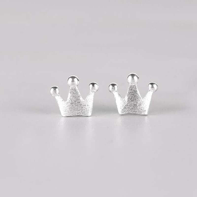 Ruifan Newest 925 Sterling Silver Women's Jewelry Fashion Tiny 7mmX9mm Crown Stud Earrings Gift For Girls Kid Lady Women YEA141