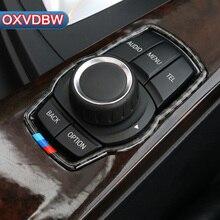 In Fibra di carbonio interni Auto Multimedia Button Decor Adesivi Styling Auto Per BMW F10 F20 F30 F34 F07 F25 F26 F15 F16 Accessori
