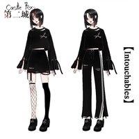 Black Gothic Lolita Set Original Design Cotton Embroidery Daily Women Set Girls Long Sleeve Tops Skirt Pants