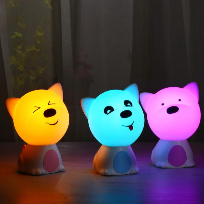 3D Cute Dog Silicone Gift lamp Cartoon style Lamp used for 6-8 hours USB Pat LED Night Light Baby Lamps for Kids Room
