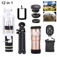 10x lente zoom telefoto + sostenedor del trípode + mini selfie stick + lentes de ojo de pez de gran angular macro para el teléfono celular 12in1 lentes de cámara