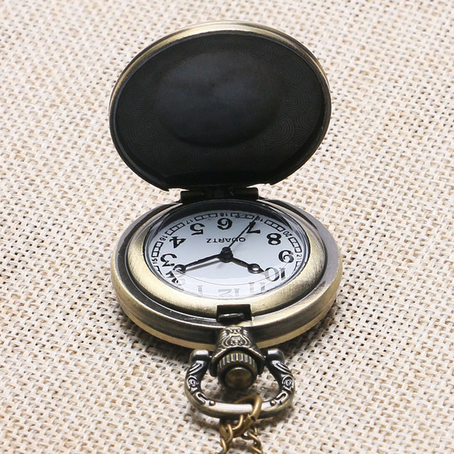 Antique Full Metal Alchemist Case Bronze Pocket Watch With Chain