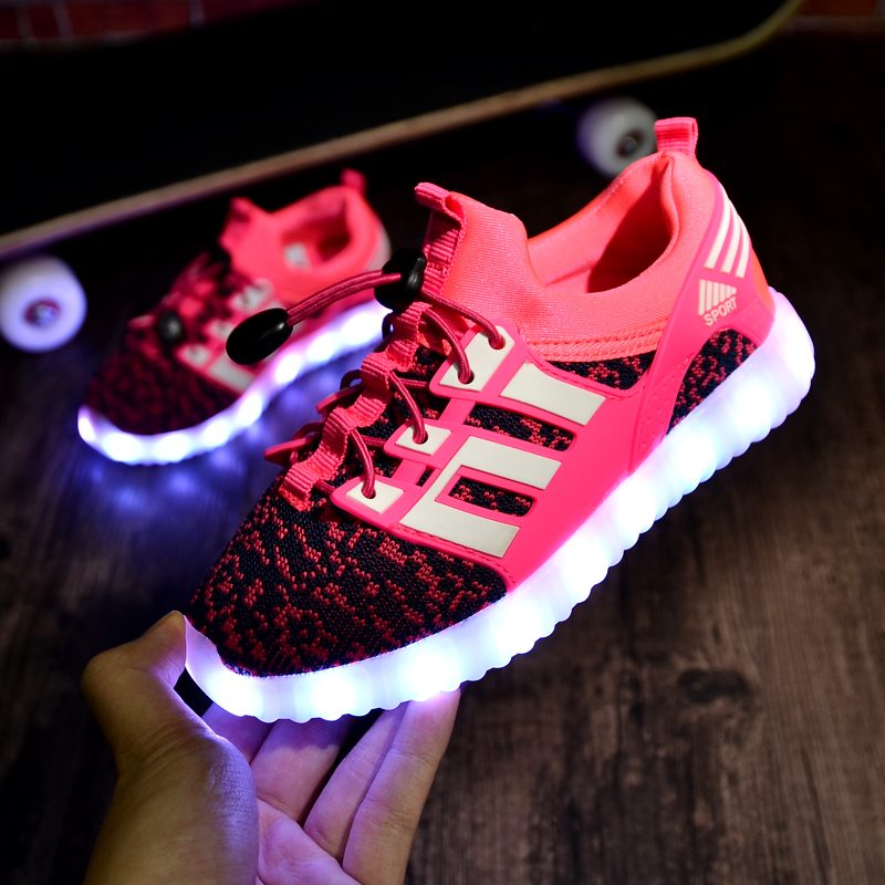 7a30eb2fee2a8 Kids Sports Shoes Boys Running Shoes High Quality Zapatos Ninas Light Up  Led Shoes Luminous Sneaker for Girls Krasovki Fly Weave-in Sneakers from  Mother ...