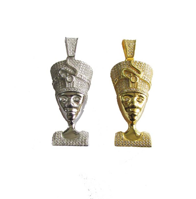 Yellow gold colors silver men jewelry simulated stone queen yellow gold colors silver men jewelry simulated stone queen nefertiti pendant necklace with free bead chain mozeypictures Gallery
