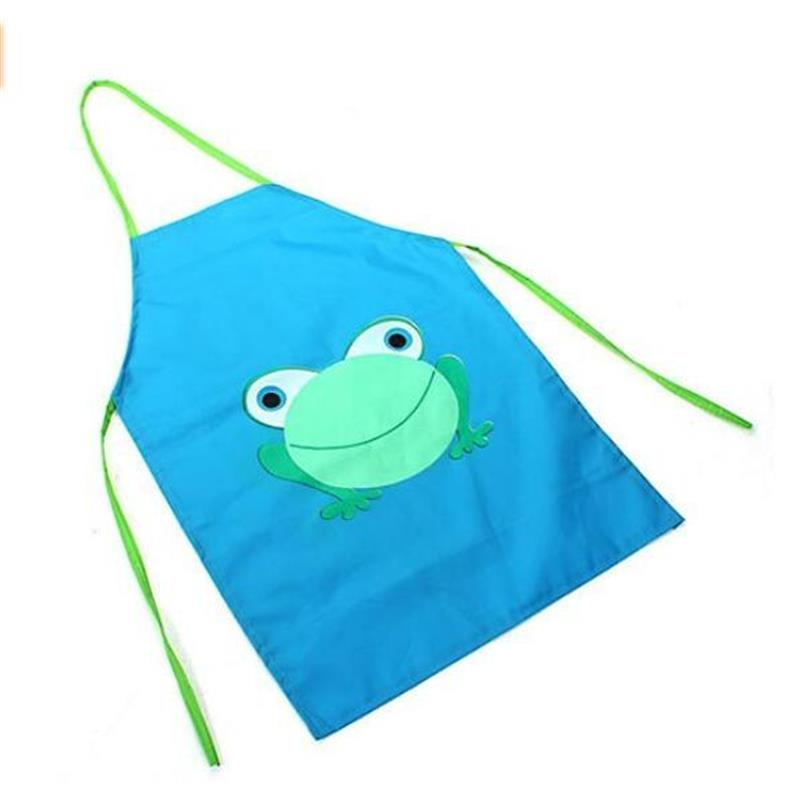 Childrens Waterproof Apron Cartoon Frog Printed Painting Cooking Blue