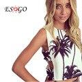 Estilo de verano tanque crop top sexy mujeres de la muchacha del tanque del halter palm tree imprimir bustier algodón bralette superior corto blanco de la manera tops