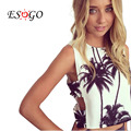 summer style tank crop top sexy girl women tank halter bustier bralette top Cotton short White fashion Palm Tree print tops