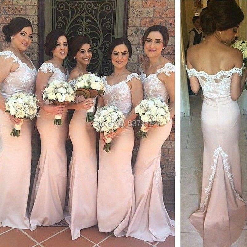 Blush Light Pink Bridesmaid Dresses with Lace Appliques Long ...
