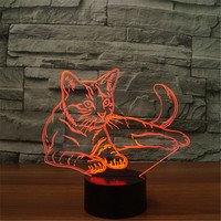 3D Vision Kitten LED Night Light 7 Colors Change Cute Lying Cat Desk illusion Lamp Bedroom Home Party Decor Gift Bedside Light