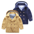 New 2016 Autumn England Style Kids Boys Trench Double Breasted Solid Outerwear For Boy 2-7 Age Children's Clothes Khaki Overcoat
