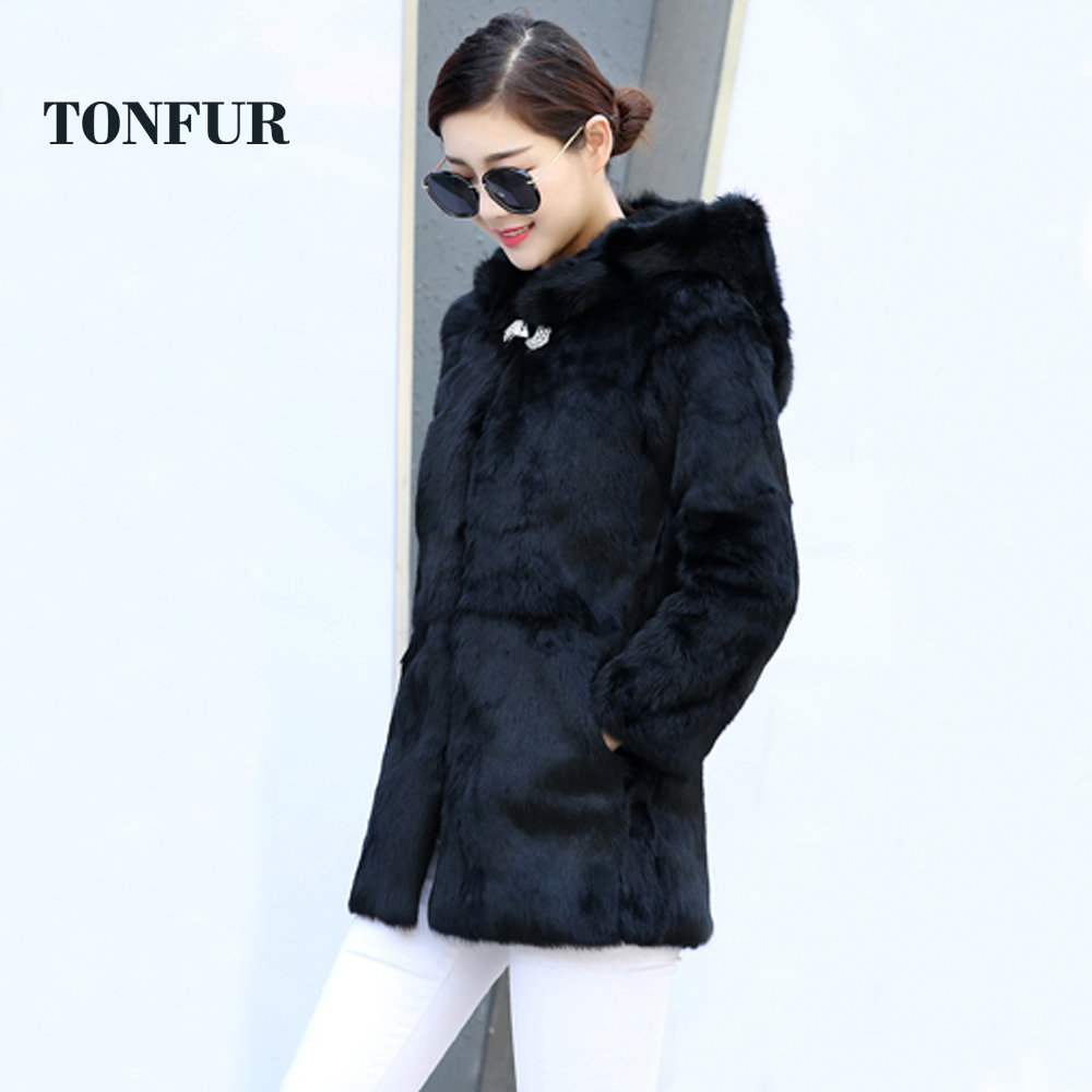 Fur Hood Overcoat Luxury Customize Plus Big Size And Colors High Qualiry Factory Full Pelt Natural Rabbit Fur Coat Real Tsr239