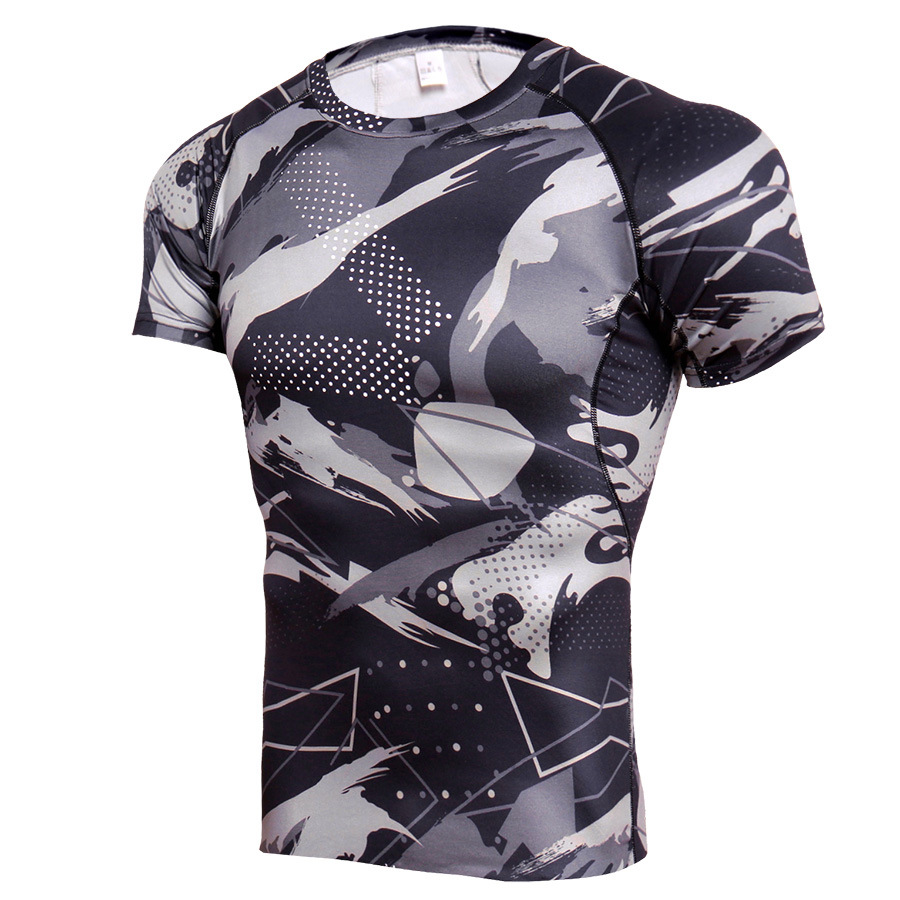 Mens Dri-fit Short Sleeve Camo Compression Gym Shirts