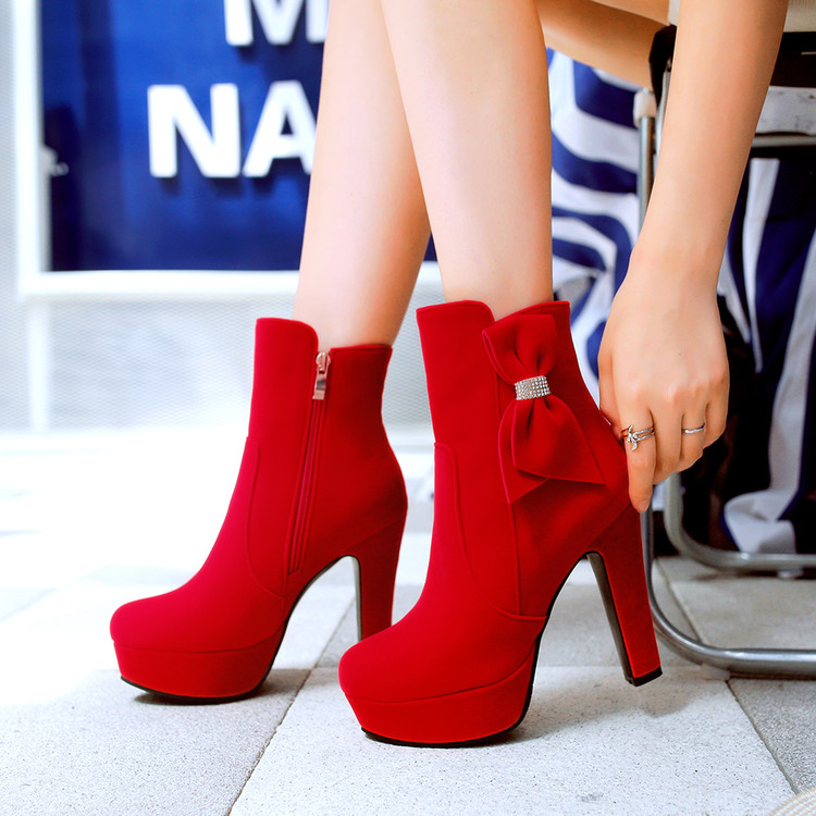 ФОТО All-match bow princess high-heeled boots 2016 spring and autumn single boots fashion winter women's shoes boots free shipping