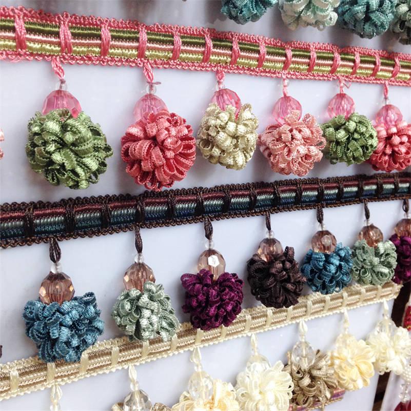1M Curtain Sewing Tassel Fringe Trim Tassel Pom Pom Tassel Upholstery Home Decor