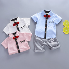 hot deal buy toddler boys clothing set 2019 summer children clothing casual shirts+shorts 2pcs baby boys clothes kids suits for1 2 3 4 y