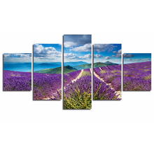 Frame Living Room HD Printed Painting 5 PiecePcs Mountains Lavender Landscape Modern Wall Art Pictures Home Decoration Posters