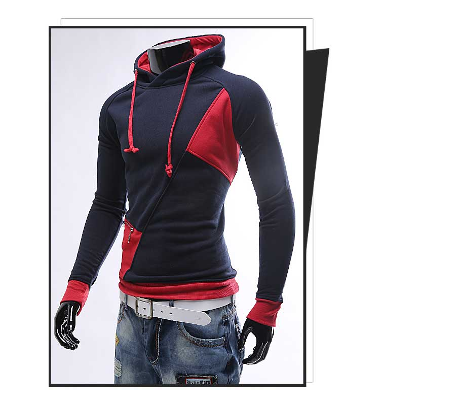 spring and autumn new hoodie men's matching color patchwork jumper Korean version of men's coat 40