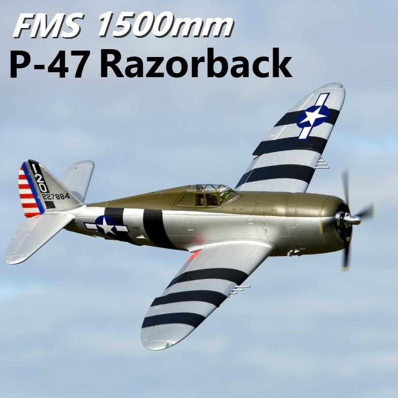 FMS 1500MM 1,5 M P47 P-47 Razorback Bonnie 6S 6CH con solapas retractas PNP RC avión Gran pájaro Avion modelo avión Flysky FS-SM100 RC simulador de vuelo USB con Cable FMS controlador de helicóptero 2,4G