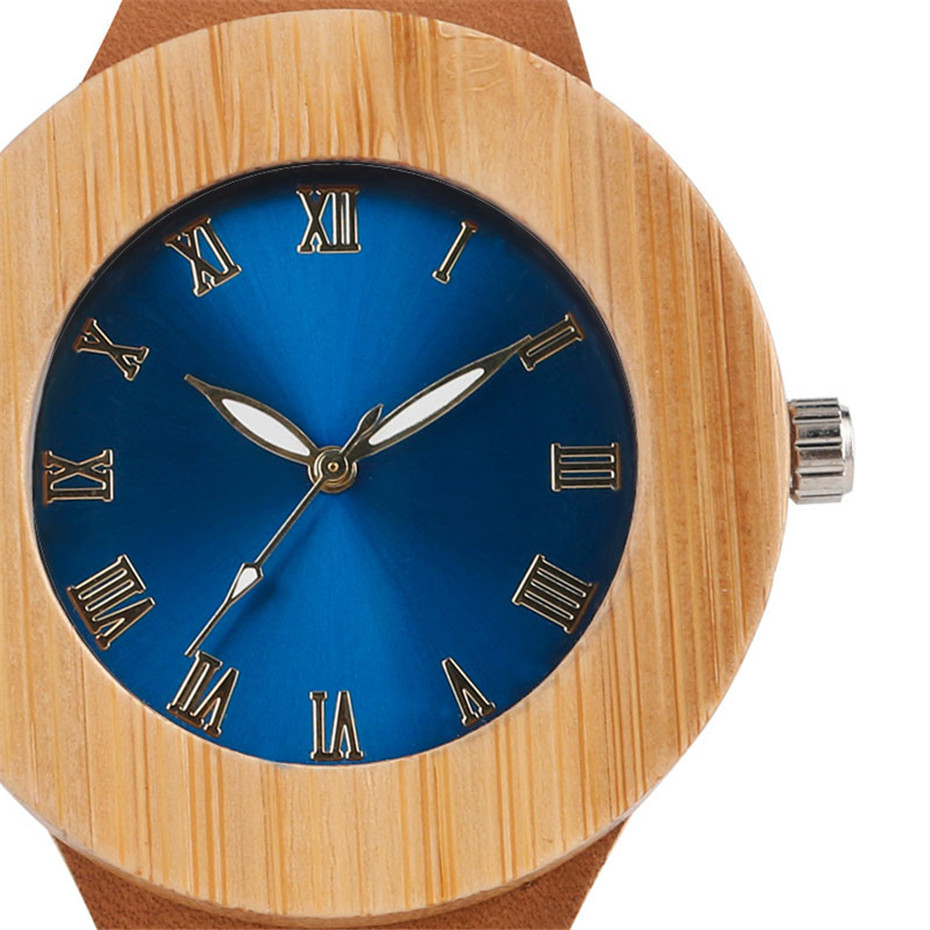Creative Bamboo Blue Green Wooden Watch Dial Genuine Leather Casual Lovers Women Roman Number Quartz Wristwatch Relojes (8)