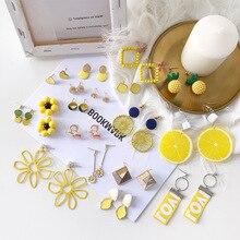 Addy store Yellow earrings Orange Tasseled Pearl Earring for Girls Flower Bohemia Earrings Women fashion