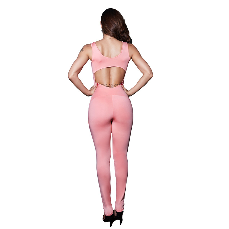 MUXU BLACK jumpsuit body feminino jumpsuits womens ladies backless europe and the united states jumpsuits rompers bodies bodycon