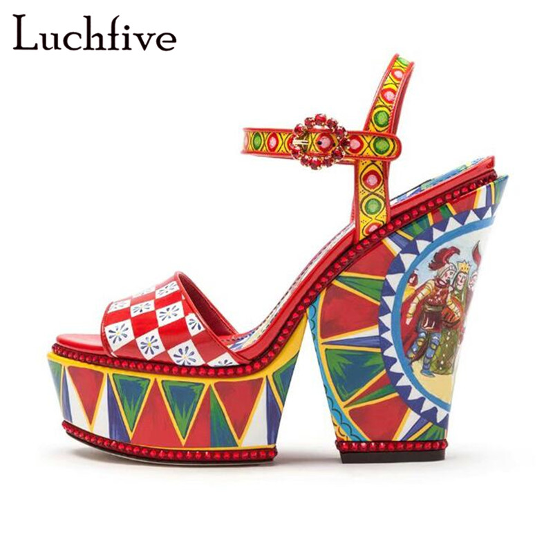 Geometric Wedges Shoes For Women Sexy Peep Toe Buckles Sandals Red Lattice Fashion Party Shoes Hot Summer Platform Shoes WomenGeometric Wedges Shoes For Women Sexy Peep Toe Buckles Sandals Red Lattice Fashion Party Shoes Hot Summer Platform Shoes Women