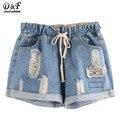 Dotfashion Mujeres Pantalones Cortos de Moda de Verano 2016 El Último Cordón Ripped Cintura Dobladillo Azul Doble Bolsillos Denim Shorts