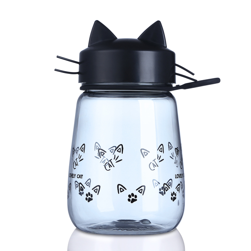 Creative Cat Water <font><b>Bottles</b></font> Portable Plastic Kids Girls Drink BPA Free Outdoor My Sports <font><b>Bottles</b></font> for Juice Milk 350ml