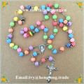 Freeshipping 8mm resin beads religious rosary necklace, catholic rosary  with alloy cross and Vrigin Mary centerpiece