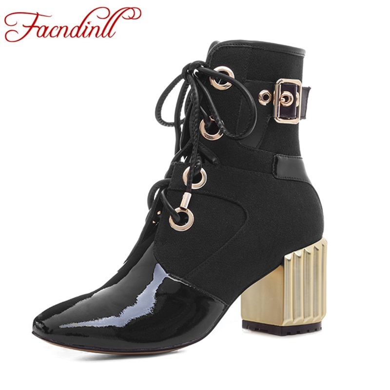 FACNDINLL 2017 balck ankle boots for women genuine leather fashion sexy high heels square toe platform shoes woman riding boots