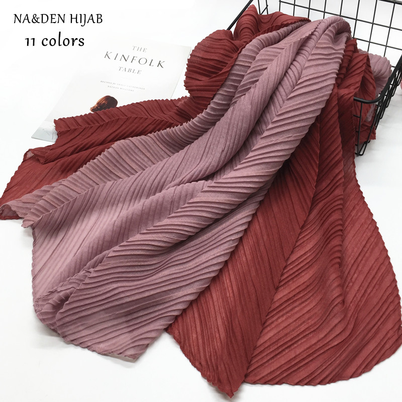 11 Color Pleated Plain Maxi Hijab Scarf Color Patchwork Scarves Shawls Big Size Woman Popular Muslim Wrinkle Scarfs  Foulard 1pc