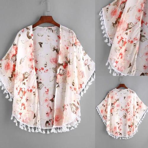 Baby Girl Floral Printed Cardigan Short Sleeve Tassel Top Coat