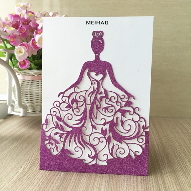 Aliexpress Buy 50Pcslot Elegant Silver purple gold – Gold and Purple Wedding Invitations