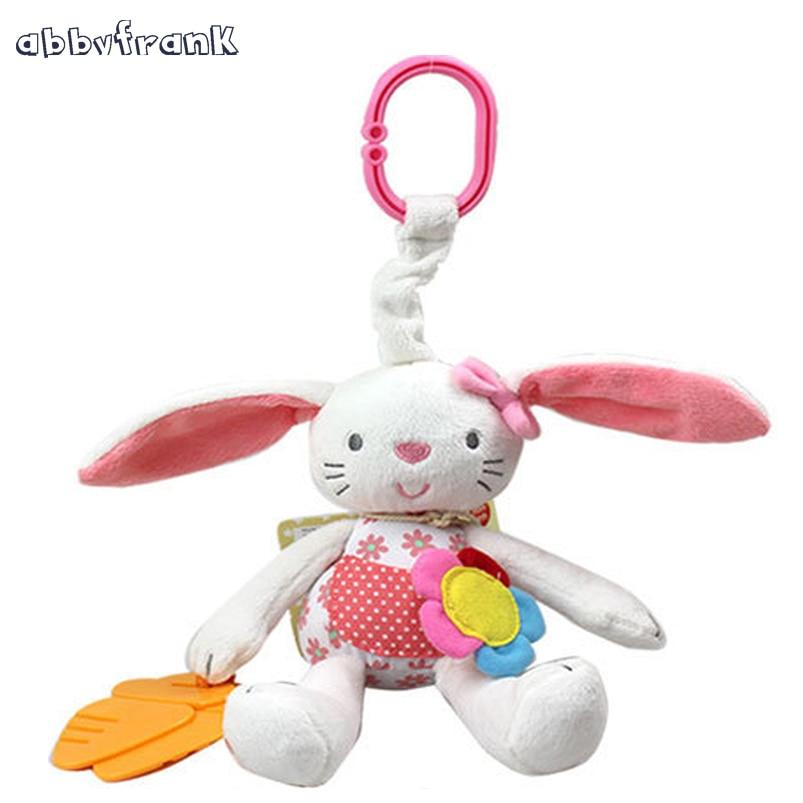 Abbyfrank kanin Baby Rattle Spjälsäng med Gutta percha Soft Bunny - Leksaker för spädbarn
