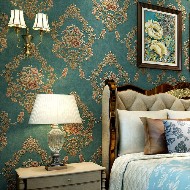 Green Blue 3D Embossed Gold Texture Damask Wallpaper Bedroom Vintage Victorian Metallic Bronze Floral Wall Paper