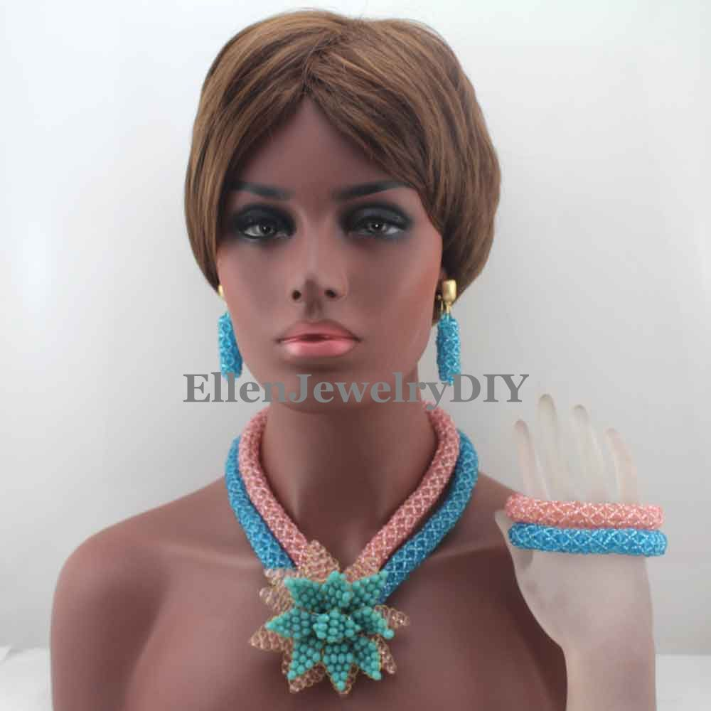 Pink/Sky Blue African beads Jewelry Sets Flower Pendent Beads Nigerian Wedding beads Jewelry Set Statement Jewelry Set W13373Pink/Sky Blue African beads Jewelry Sets Flower Pendent Beads Nigerian Wedding beads Jewelry Set Statement Jewelry Set W13373